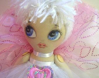 CLOTH DOLL, FAIRY Little love, limited edition, art doll, handmade doll, original pattern, unique design, wall doll, handpainted,