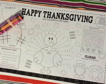 THANKSGIVING- Kids activity placemat- Digital file only