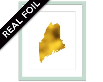 Maine Art Print - Gold Foil Print - Maine Map Poster - Travel Poster - Gold Maine Art - United States Art Print - Gold Map Maine Wall Decor