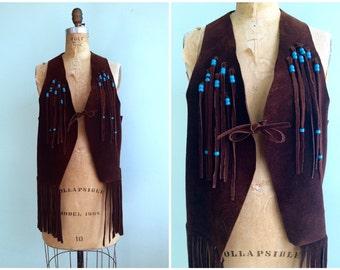 Vintage 1970's Leather Fringe Vest | Size OSFM