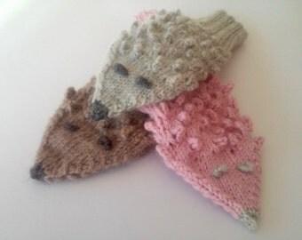 Animals Gloves/ Hedgehogs Mittens/ Kids Gloves/ Knitted Mittens/ Children, Toddler Mittens/ Boy Gloves/ Girl Mittens/ Hedgehogs/ Pink Gloves