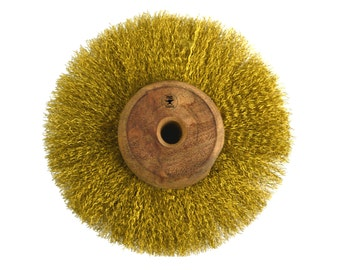 """3"""" Circular Crimped Brass Wire Brush Tool for Cleaning and Polishing Jewelry - BRUS-0004"""