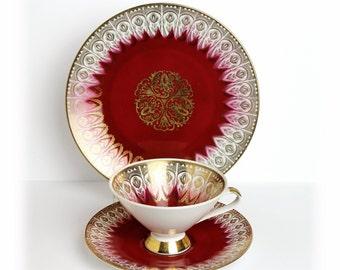 Mid Century Teacup Trio Retro Teacup Mitterteich Bavarian China German Porcelain Tea Cups and Saucers