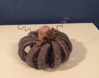 Granite Colored Yarn Wrapped Shabby Chic Pumpkin