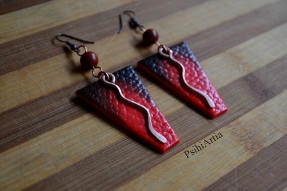 Red dangle earrings Afrocentric earrings Africa earrings Africa jewelry Polymer clay earrings Polymer clay jewelry Copper earrings OOAK jewe