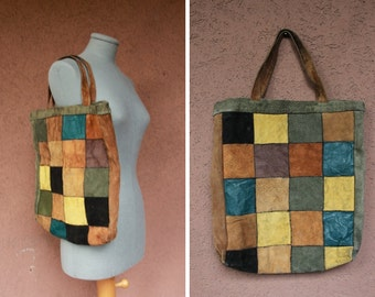 1970's Patchwork Leather Bag - 70's Leather Tote Bag