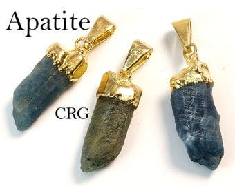 Gold Plated Rough Blue Apatite Pendant (PT13CN)