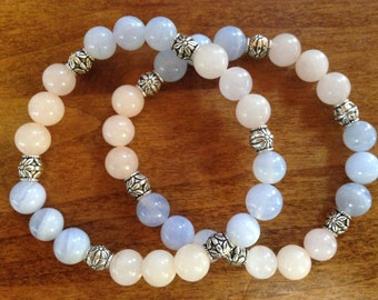 Blue Chalcedony & Rose Quartz Crystal Healing Bracelet - Increases inner peace and unconditional love