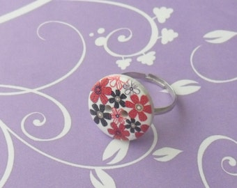 Red & black flower button adjustable ring