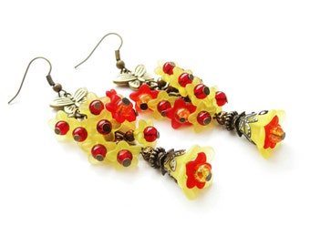 Autumn dangle earrings with frosted lucite flowers in yellow and red - blooms, floral earrings, romantic gift for her