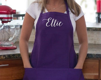 Personalized apron. Purple Custom name apron with pockets. Birthday Gift. Gift for chef, cook, baker. Teacher holiday gift Bride gift idea