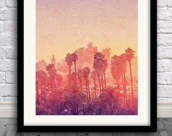 L.A. Print,Los Angeles print,Sunset painting,watercolor,wall art,Pic no 89