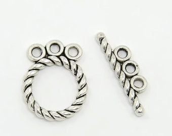 Circle Toggle Clasp, 3 Strand Clasp, Multi-Strand Clasp, Antique Silver Tibetan Style Toggle Clasp, (CLP-T-AS-10), 5 sets