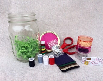 Mason Jar Sewing Kit - Mending Kit - Clothing Repair Kit - Sewing Kit - Christmas Gift For Her - Xmas Gifts - Unique Gift for Mom