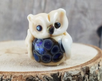 489- Owl Lampwork Focal Bead, Glass Bead, Pendant Bead, Lampwork Bead