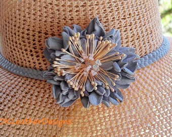 Leather Lavender Handmade Flower Hair Clip/Brooch with the Peach Stamens