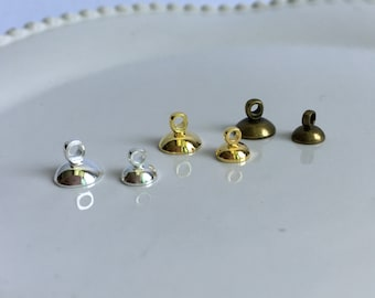 10pcs 5/8mm Bronze/Gold/Silver Metal Glass Ball /Tube Caps with Bails