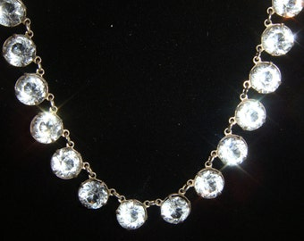 Fabulous 1920's Art Deco Openback Sterling Crystal Necklace