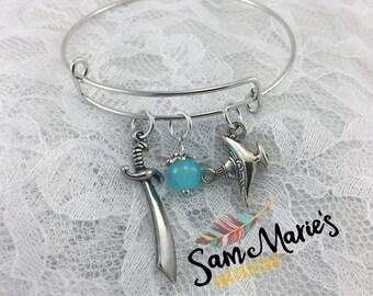 Silver Aladdin Inspired Bangle Bracelet