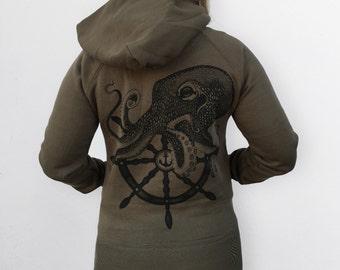 octopus Womens hoodie jacket, army green jumper, womans sweatshirt, sailor octopus print, womens green sweater, zip jacket womens hoodies