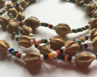 Handmade Vintage Natural Seed Beads Long Necklace