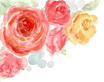 Watercolour Roses Flowers Illustration Print