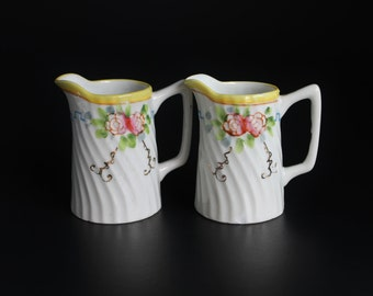 Miniature China Creamer, Set of Two, Flower Pattern Server, Small Pitcher, Matched Set, Individual Creamer