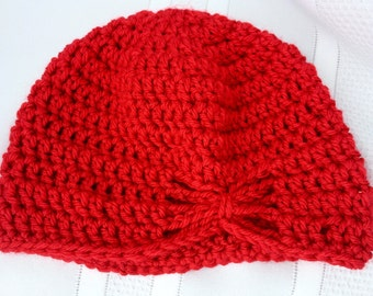 Red Butterfly Hat - Turban Hat - Red Crochet Hat - Girls Flapper Hat - Red Toddler Hat - Toddler Crochet Hat - Ready to Ship