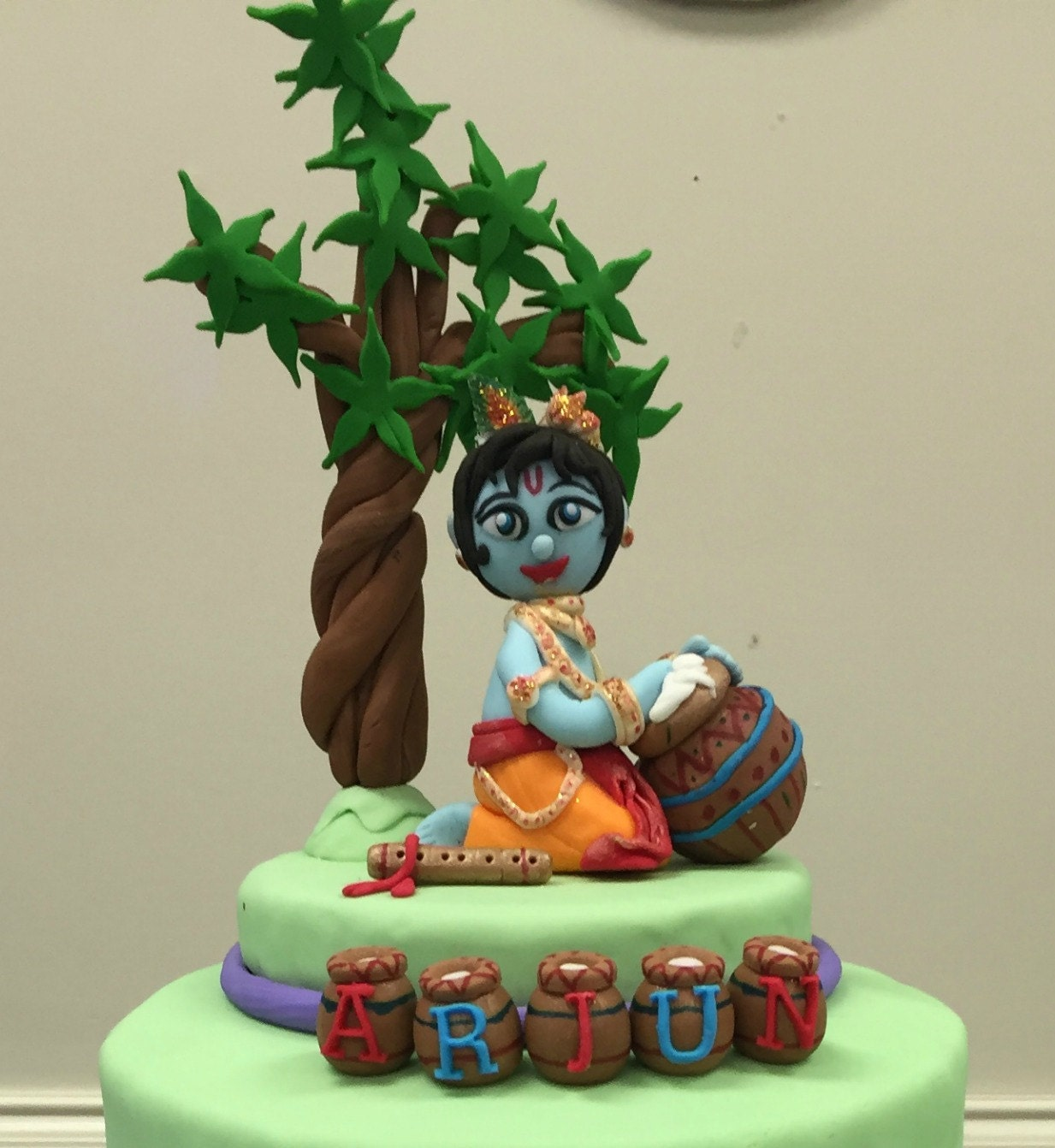 Cake Images With Name Krishna : Fondant Krishna Cake Topper Birthday Baby Shower