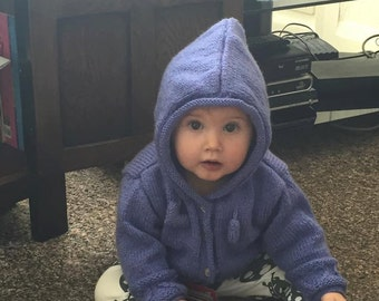 Fabulous hand knitted fashionable hoodies for babies and toddlers