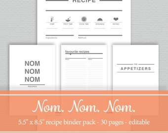 Recipe Binder Printables - Editable PDF -  Half Letter Size - by SassyPlanners