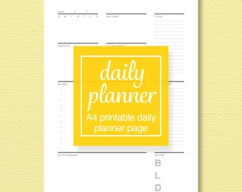 A4 Printable Daily Planner Page - Schedule and To-Do List - Meal Plan, Prioritize, Journal - Printable PDF - Perpetual Calendar