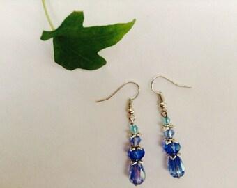 Blue Swarovski Crystal Tiered Earrings With Leaf Bead Caps
