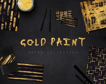 Gold Foil Paint and Black Digital Paper Pack  - 10 Digital Gold Paint Brush Patterns Layouts - (300dpi 12x12 - JPG) Instant Download