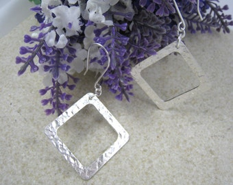 SQUARE HOOP EARRINGS Sterling Silver 925, spoon earrings, hammered disc drop earrings, upcycled from early 1900s antique spoons. 2 Sizes.