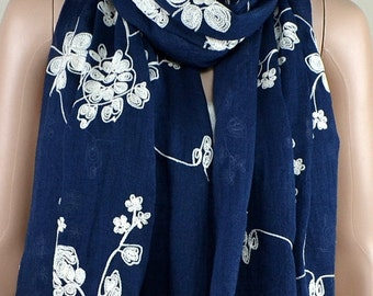 Navy cotton scarf, three-dimensional embroidery scarf, cotton scarf, shawl, women decorative accessories