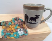"Fika, Cuppa,""Maine Man""-Taupe, Brown, Woven Potholder, Retro, Loopers,Trivets, Fiber Arts,The Swedish Flicka, Upcycled"