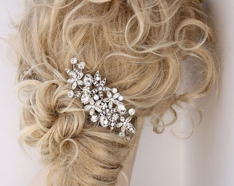 Glam Bridal Hair Pin, Crystal Silver Hair Comb, Bling Wedding Accessory, Rhinestone Bridal Comb, Wedding Hair Piece, Bridal Hair Jewelry