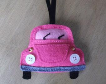 Felt beetle car door hanger pink handmade