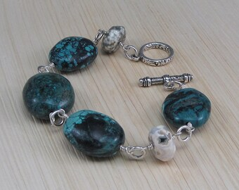 Make a statement with this Chunky Turquoise and Jasper Bracelet!