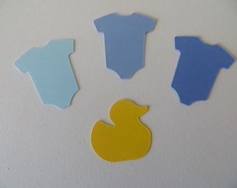 Baby Shower Confetti - Blue - Set of 130 - Handmade - Baby Onesie & Rubber Ducky Confetti - Party Decor