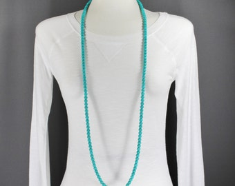"Turquoise super extra long beaded necklace 45"" long double wrap strand"