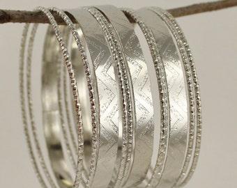 Silver set pack of 11 metal skinny bangle bracelet shiny bead beaded stack stackable stamped