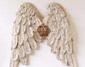 Heavenly Wings White Borghese With French Crown - Wall Decor - Cherub Angel Wings Heavenly Decor Holiday Wooden