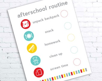 Afterschool Routine Checklist Printable