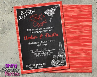 Italian Theme - italian invitations - ENGAGEMENT PARTY INVITATION - Italian Dinner Invitation - italian invitation  pasta party that's amore