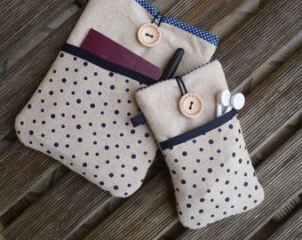iPad mini 4 case,iPad mini 3 sleeve, ipad mini 2 sleeve, ipad mini case, ipad mini cover, pouch, bag  + matching phone case Linen Blue dots