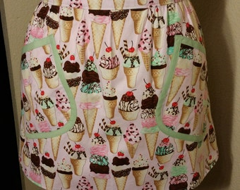 Pink and green ice cream apron