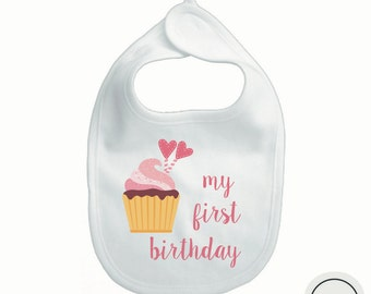 My first birthday bib for girl, cake birthday bib, cupcake birthday bib, custom birthday bib personalized with girl name
