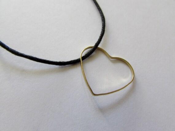 Heart Pendant Brass On Wax Cord Adjustable Love Jewellery Friendship Gift Free UK Shipping + Gift Bag